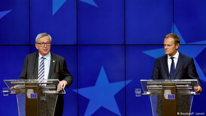EU Gipfel Abschluss PK Juncker und Tusk (Reuters/F. Lenoir)