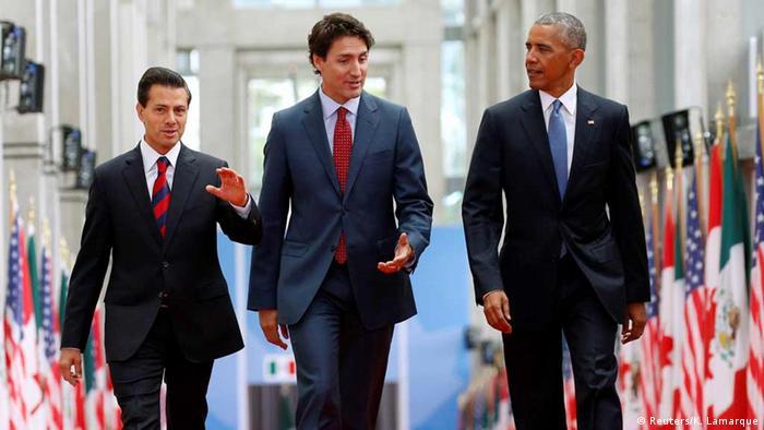 Kanada Pena Nieto, Justin Trudeau Barack Obama in Ottawa