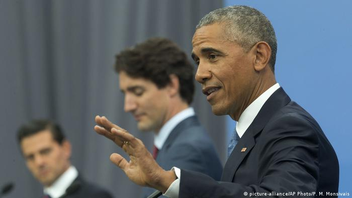 US Präsident Obama PK in Ottawa (picture-alliance/AP Photo/P. M. Monsivais)