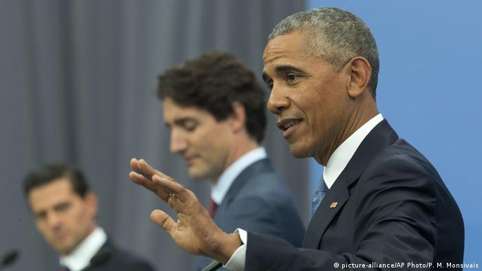 US Präsident Obama PK in Ottawa (picture-alliance/AP Photo/P. M. Monsivais)