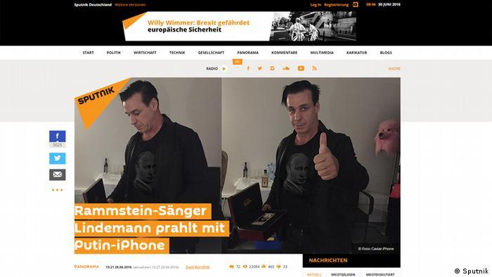 Скриншот с немецкоязычного сайта российского новостного агентства Sputnik