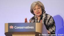 LONDON, UNITED KINGDOM - APRIL 9: British Home Secretary Theresa May speaks during the Conservative Party Spring Forum on April 9, 2014 in London, United Kingdom. During the forum, Prime Minister David Cameron admitted that he could have handled the Panama tax row better. +++ (C) Getty Images/K. Davies