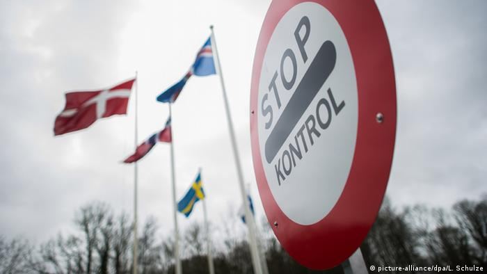 A sign that reads Stop: Controls at Danish-German border