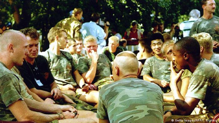 A file photo 16 July 1995 showing Dutch soldiers of the Dutchbat troops in Potocari, the Dutch UN base in the north of the enclave of Srebrenica (Getty Images/AFP/T. Kluiters)