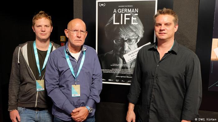 Diretores Roland Schrotthofer, Christian Krönes e Florian Weigensamer (da esq. para a dir.) no Festival de Munique