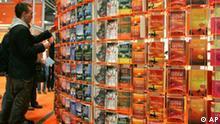 Buecherwand der Verlagsgruppe DroemerKnaur auf der Buchmesse in Leipzig