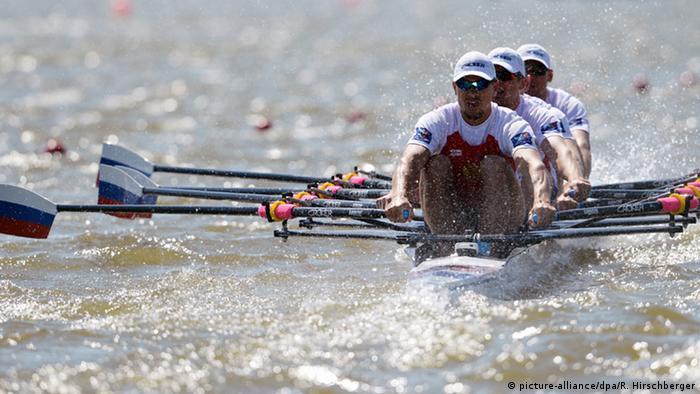 Четверка российских гребцов в лодке