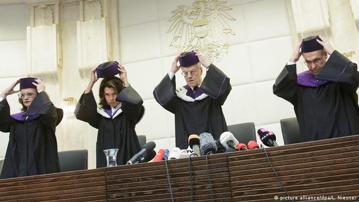Österreich Verfassungsrichter erklären die Bundespräsidentenwahl für ungültig Verfassungsgericht