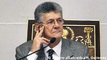 20.4.2016 *** epa05269624 Venezuelan National Assembly President, Henry Ramos Allup looks on as he attends a debate on the Organic Law on Referendums, at the National Assembly facilities, in Caracas, Venezuela, 20 April 2016. The Venezuelan National Assembly approved on 20 April a bill seeking to accelerate the process of a referendum to revoke the mandate of President Nicolas Maduro. EPA/MIGUEL GUTIERREZ +++(c) dpa - Bildfunk+++ Copyright: picture-alliance/dpa/M. Gutierrez