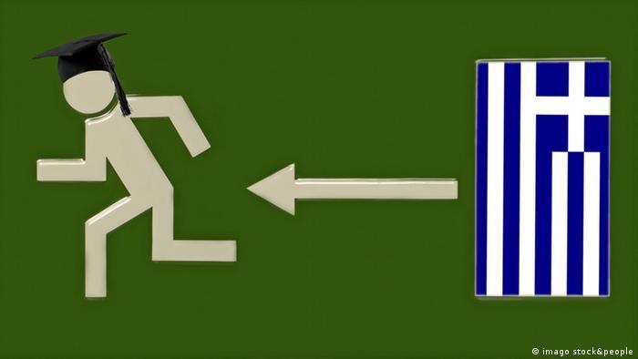 Griechenland Piktogramm Akademiker verlassen das Land (imago stock&people)