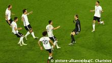 02.07.2016 Germany's Benedikt Hoewedes, Julian Draxler, Mats Hummels, Leroy Sane, Mesut Oezil, goalkeeper Manuel Neuer and Jonas Hector celebrates after the penalty shoot-out the UEFA EURO 2016 quarter final soccer match between Germany and Italy at the Stade de Bordeaux in Bordeaux, France, 02 July 2016. Photo: Christian Charisius/dpa (RESTRICTIONS APPLY: For editorial news reporting purposes only. Not used for commercial or marketing purposes without prior written approval of UEFA. Images must appear as still images and must not emulate match action video footage. Photographs published in online publications (whether via the Internet or otherwise) shall have an interval of at least 20 seconds between the posting.) +++(c) dpa - Bildfunk+++ | Verwendung weltweit Copyright: picture-alliance/dpa/C. Charisius