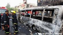 03.07.2016 Firemen inspect the site of a suicide car bomb in the Karrada shopping area, in Baghdad, Iraq July 3, 2016. Copyright: Reuters/Khalid al Mousily