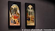 ARCHIV 2015 +++++++- Die zwei Tafeln Geburt Johannes des Täufers (um 1450) und Johannes vor Herodes Antipas (um 1450) von Giovanni di Paolo (1400 - 1582) hängen am 07.01.2015 im LWL Museum für Kunst und Kultur in Münster (Nordrhein-Westfalen). Die millionenschwere Kunstsammlung der WestLB-Nachfolgerin Portigon wird von fünf Kunstexperten unter die Lupe genommen. Erstmals seit sieben Jahren hat Kulturministerin Ute Schäfer (SPD) den Sachverständigenausschuss zur Prüfung national wertvollen Kulturguts einberufen. Bisher musste dieses Gremium noch nie eine so umfangreiche Sammlung begutachten. - Bildfunk+++   Verwendung weltweit (c) picture-alliance/dpa/R. Vennenbernd