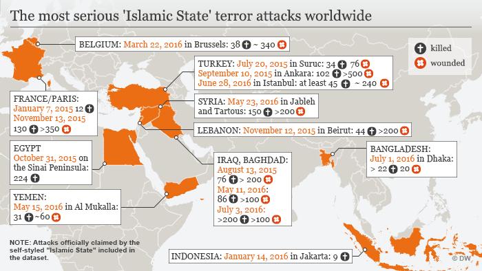 Infografik Karte IS Terroranschläge weltweitet Englisch
