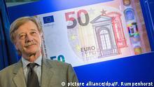 5.7.2016*** Yves Mersch, Mitglied des Direktoriums der Europäischen Zentralbank (EZB), steht am 05.07.2016 in Frankfurt am Main (Hessen) in der Zentrale der EZB vor einer Darstellung der überarbeiteten 50-Euro-Banknote. Foto: Frank Rumpenhorst/dpa   picture alliance/dpa/F. Rumpenhorst