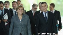 Berlin Merkel und Argentinischer Präsident Macri