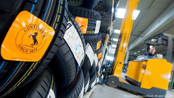 forklift lifting tires at continental