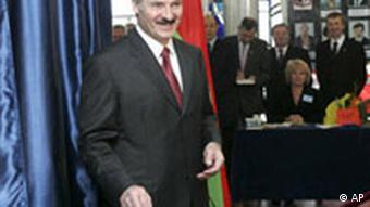 Belarus President Alexander Lukashenko casts his ballot