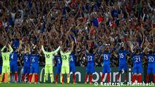 07.07.2016+++ Football Soccer - Germany v France - EURO 2016 - Semi Final - Stade Velodrome, Marseille, France - 7/7/16 France players celebrate with fans after the game +++ (C) Reuters/K. Pfaffenbach