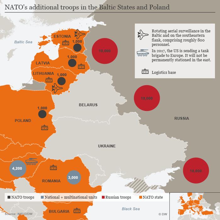 Karte Infografik NATO-Truppen seit Beginn der Ukraine-Krise Englisch