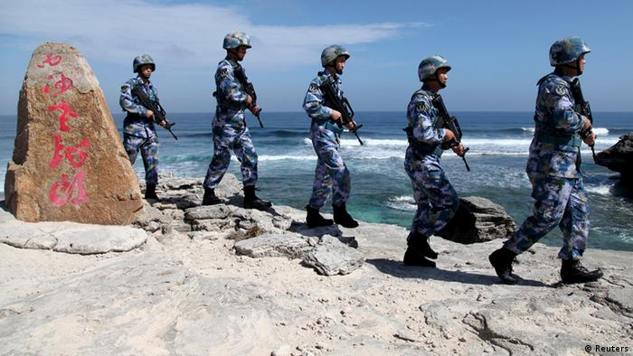 Chinese soldiers on the Xisha Islands in the South China Sea