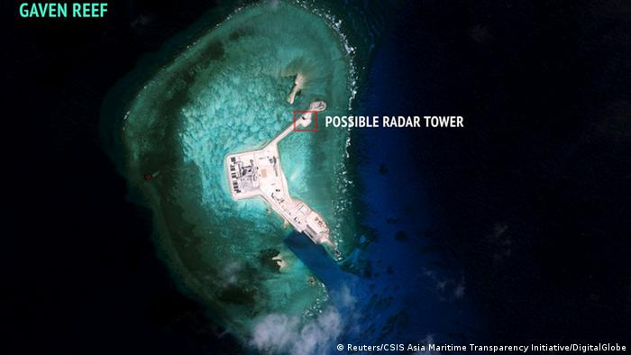 China Südchinesisches Meer - US-Satellitenbild Spratly Inseln