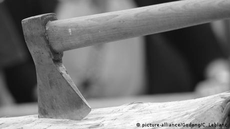 Symbolbild Holz hacken Axt im Holz (picture-alliance/Godong/C. Leblanc)