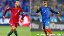 FILE PHOTO - (EDITORS NOTE: COMPOSITE OF TWO IMAGES - Image numbers (L) 540171428 and 544406362) In this composite image a comparision has been made between Cristiano Ronaldo of Portugal (L) and Antoine Griezmann of France. France and Portugal meet in the EURO 2016 Final on July 10, 2016 at the Stade de France in Paris,France. ***LEFT IMAGE*** SAINT-ETIENNE, FRANCE - JUNE 14: Cristiano Ronaldo of Portugal in action during the UEFA EURO 2016 Group F match between Portugal and Iceland at Stade Geoffroy-Guichard on June 14, 2016 in Saint-Etienne, France. (Photo by Clive Brunskill/Getty Images) ***RIGHT IMAGE*** PARIS, FRANCE - JULY 03: Antoine Griezmann of France in action during the UEFA EURO 2016 quarter final match between France and Iceland at Stade de France on July 3, 2016 in Paris, France. (Photo by Matthias Hangst/Getty Images) Getty Images/M. Hangst