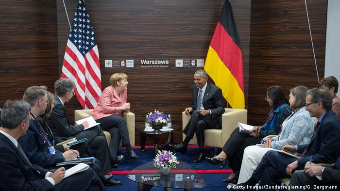 NATO Gipfel Polen Obama Merkel Press Office (BPA)