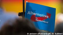 A blue AfD flag hangs from a microphone during a party event