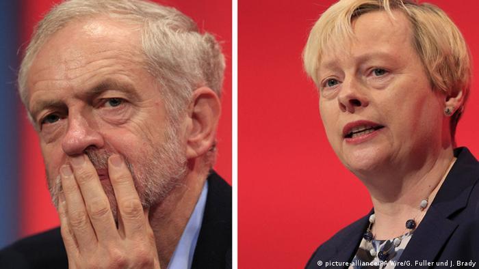 Former shadow business secretary Angela Eagle and Labour leader Jeremy Corbyn