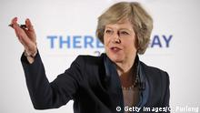 July 11, 2016 BIRMINGHAM, ENGLAND - JULY 11: British Home Secretary Theresa May launches her Conservative party leadership campaign at the IET events venue on July 11, 2016 in Birmingham, England. Theresa May MP and Andrea Leadsom MP are the last two remaining contenders in the leadership race to be Prime Minister of the United Kingdom after the resignation of David Cameron. (Photo by Christopher Furlong/Getty Images) (c) Getty Images/C. Furlong