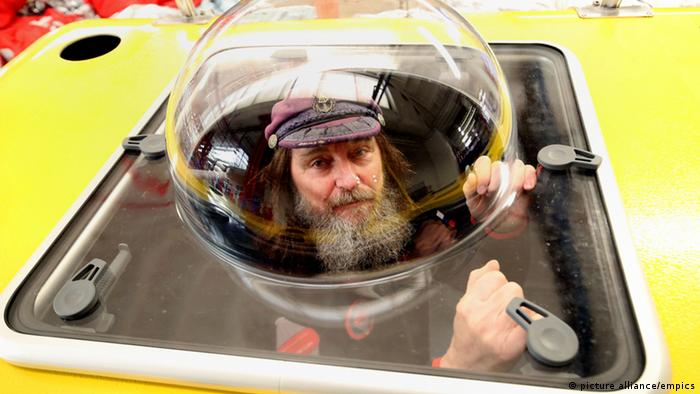 Fedor Konyukhov in the gondola of his hot air balloon