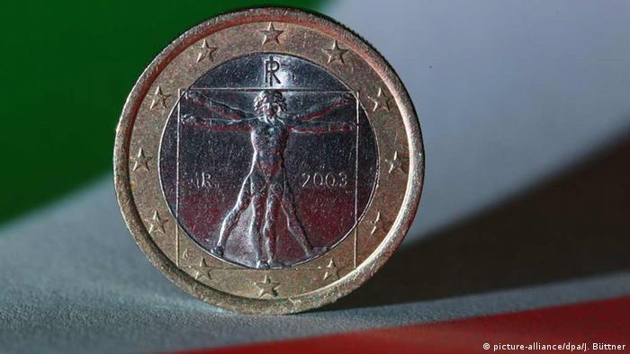 Desenho de Leonardo da Vinci em moeda de euro da Itália