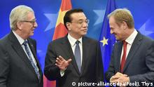 Jean-Claude Juncker, Li Keqiang and Donald Tusk at an EU-China summit (picture-alliance/dpa/Pool/J. Thys)
