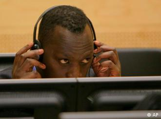 Thomas Lubanga with headphones during a hearing at the ICC