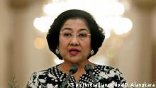 Indonesien, Megawati Sukarnoputri spricht in einer Fernsehübertragung
