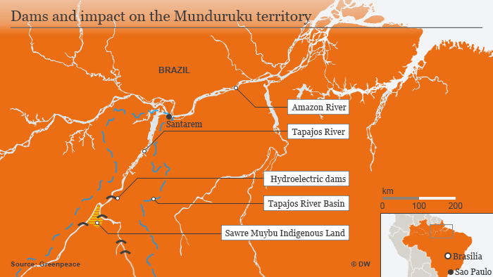 Infographic showing map of Tapajos areas affected by dam-building
