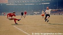 30th July 1966: Geoff Hurst scores England's third goal against West Germany in the World Cup final at Wembley Stadium. The goal, awarded upon the judgement of the Russian linesman has remained one of the most controversial goals in the history of the competition. England became World champions with a 4-2 victory after extra time. (Photo by Hulton Archive/Getty Images) Getty Images/Hulton Archive