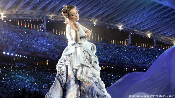 Singer Bjork at the opening ceremony of the 2004 Olympic Games in Athens