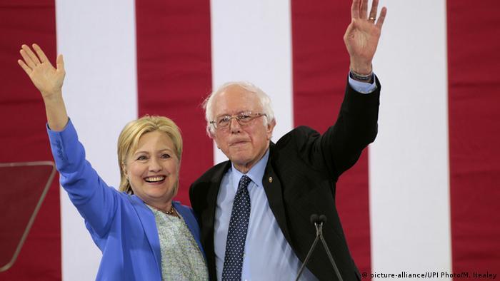 USA Portsmouth Hillary Clinton und Bernie Sanders