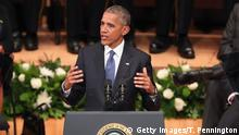 12.07.2016 ++++++ DALLAS, TX - JULY 12: U.S. President Barack Obama delivers remarks during an interfaith memorial service, honoring five slain police officers, at the Morton H. Meyerson Symphony Center on July 12, 2016 in Dallas, Texas. A sniper opend fire following a Black Lives Matter march in Dallas killing five police officers and injuring 12 others. Copyright: Getty Images/T. Pennington
