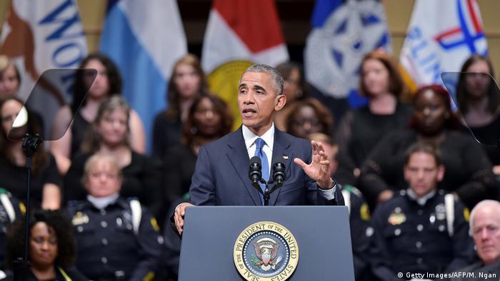 US-Präsident Obama auf der Trauerfeier für fünf erschossene Polizisten in Dallas. Foto:Getty Images/AFP/M. Ngan