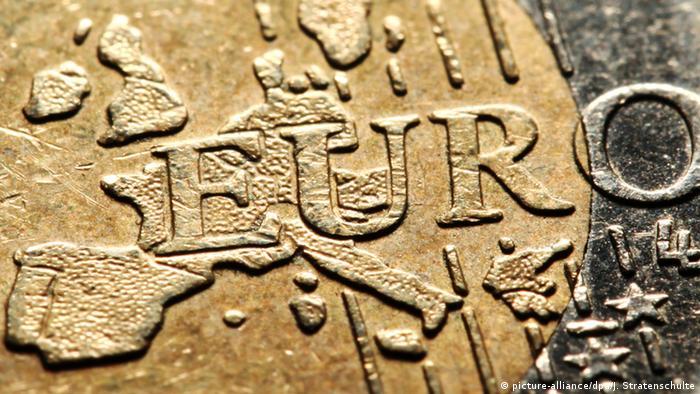 Vista parcial de una moneda de euro.