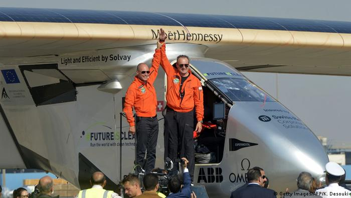 Pilots Bertrand Piccard and Andre Borschberg