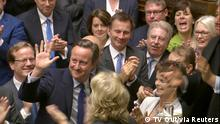 13.07.2016 Britain's outgoing Prime Minister, David Cameron, speaks during Prime Minister's Questions in the House of Commons, in central London, Britain in this still image taken from video July 13, 2016. Parliament TV/Handout via REUTERS TV ATTENTION EDITORS - THIS IMAGE WAS PROVIDED BY A THIRD PARTY. EDITORIAL USE ONLY. NO RESALES. (c) TV Out/via Reuters