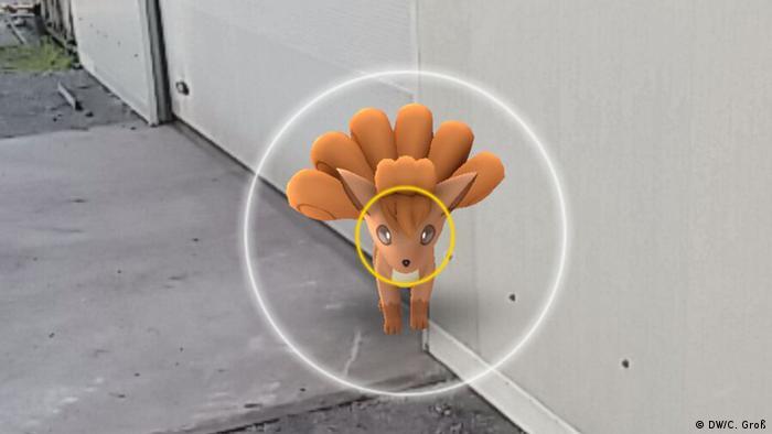 Screenshot de tela com um monstro do aplicativo Pokémon Go