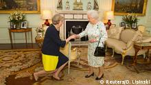 13.7.2016*** Britain's Queen Elizabeth welcomes Theresa May at the start of an audience in Buckingham Palace, where she invited her to become Prime Minister, in London July 13, 2016. REUTERS/Dominic Lipinski/Pool Reuters/D. Lipinski