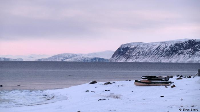 A boat sits on the beach in Clyde River, Nunavut (Photo: Elyse Skura)