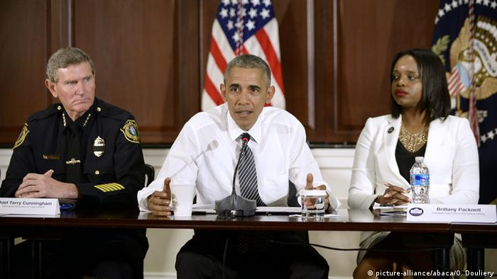 U.S. President Barack Obama meets activists, civil rights, faith, law enforcement and elected leaders to discuss ways to keep people safe
